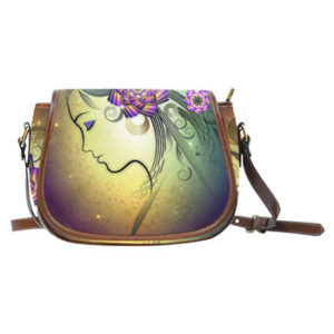 woman flowers bag