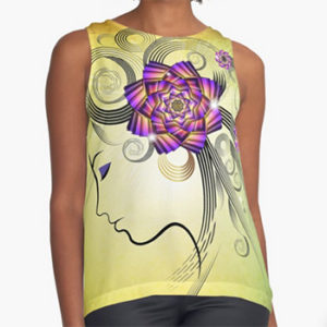 woman with flowers,tank Redbubble