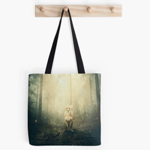 lioness in a magic forest, tote bag Redbubble