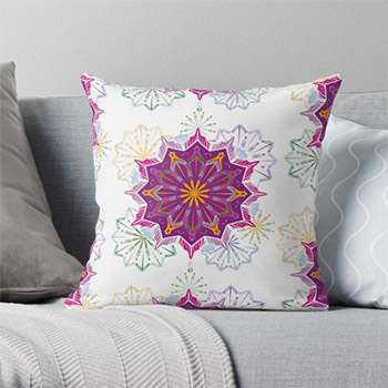 Spring mandala throw pillows, Redbubble