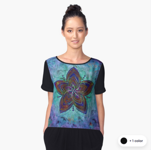 Women's Chiffon Top-ghost-flowers